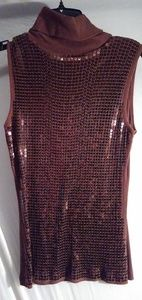 Brown Sequin Turtleneck Top